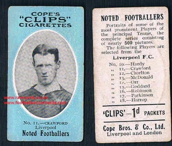 1909 Cope's Clips 3rd series Noted Footballers, 500 back, 11 Liverpool Crawford